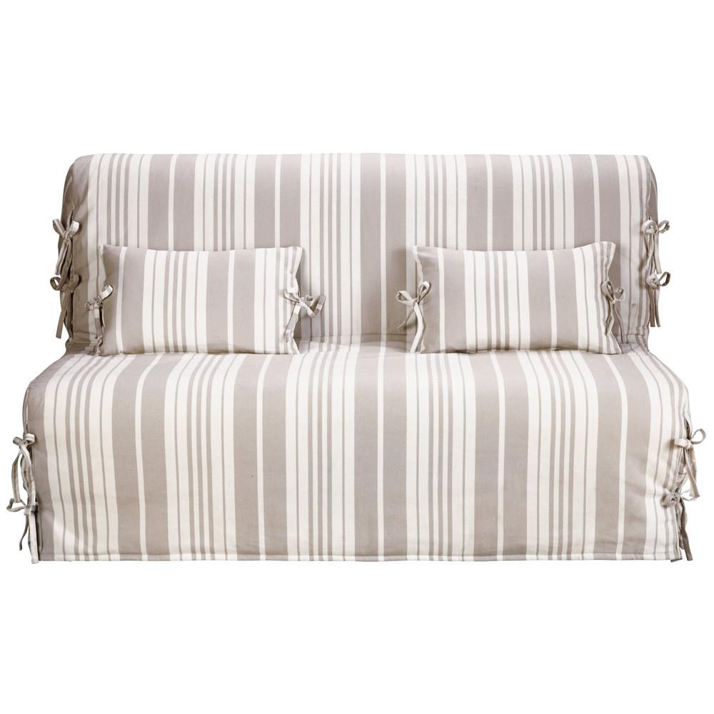 Fodera a righe beige avorio in cotone per divano letto - Divani letto maison du monde ...