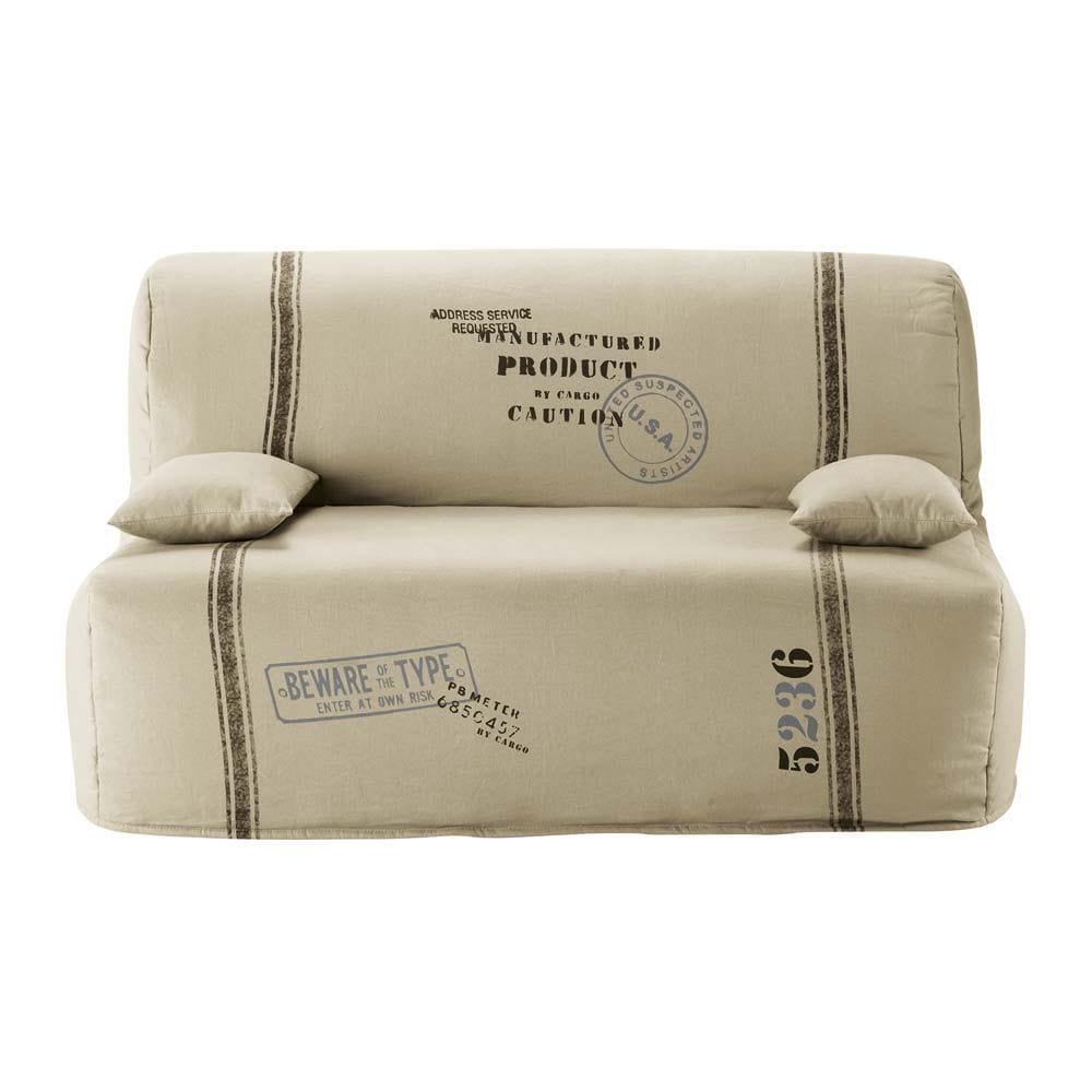 Fodera beige in cotone per divano letto elliot maisons for Testiera letto maison du monde