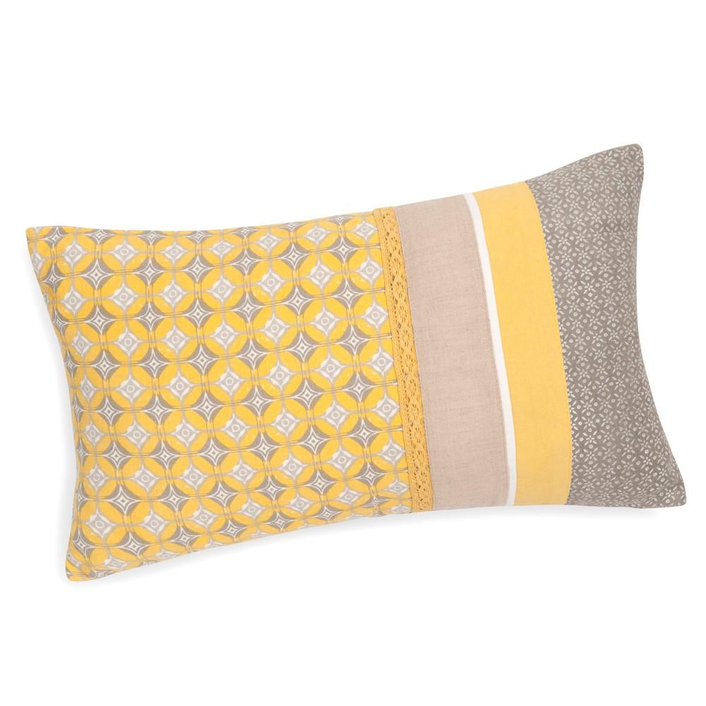 fodera di cuscino in cotone gialla grigia 30 x 50 cm. Black Bedroom Furniture Sets. Home Design Ideas