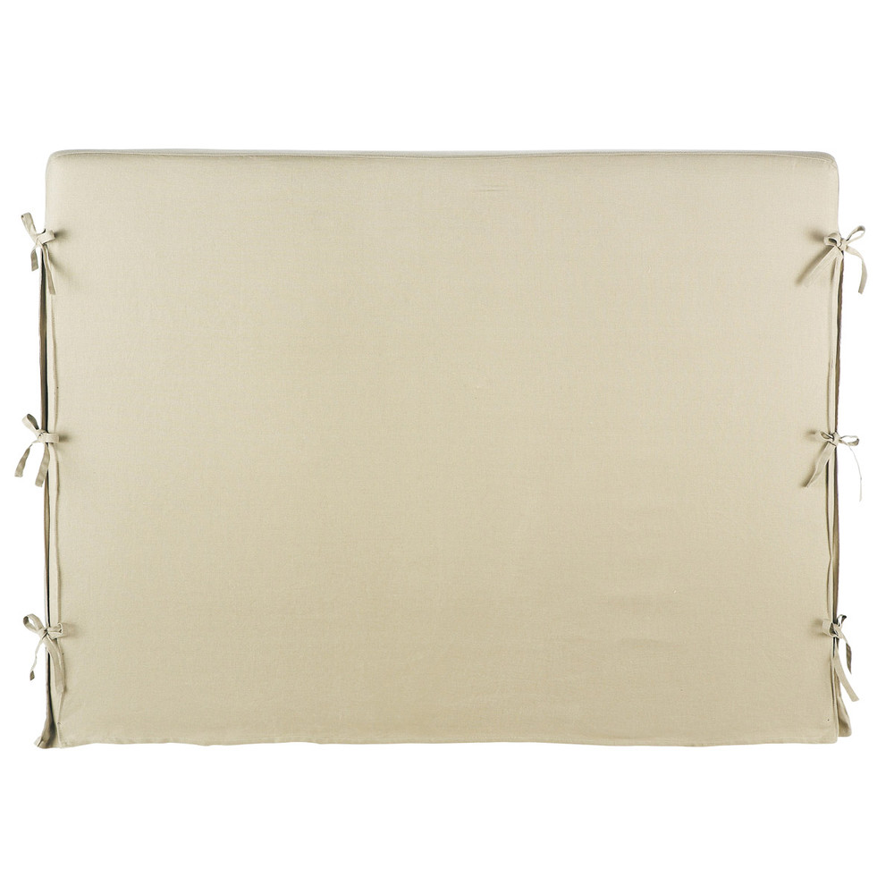 Fodera di testata beige in lino l 92 cm dream maisons du - Fodera testata letto ...