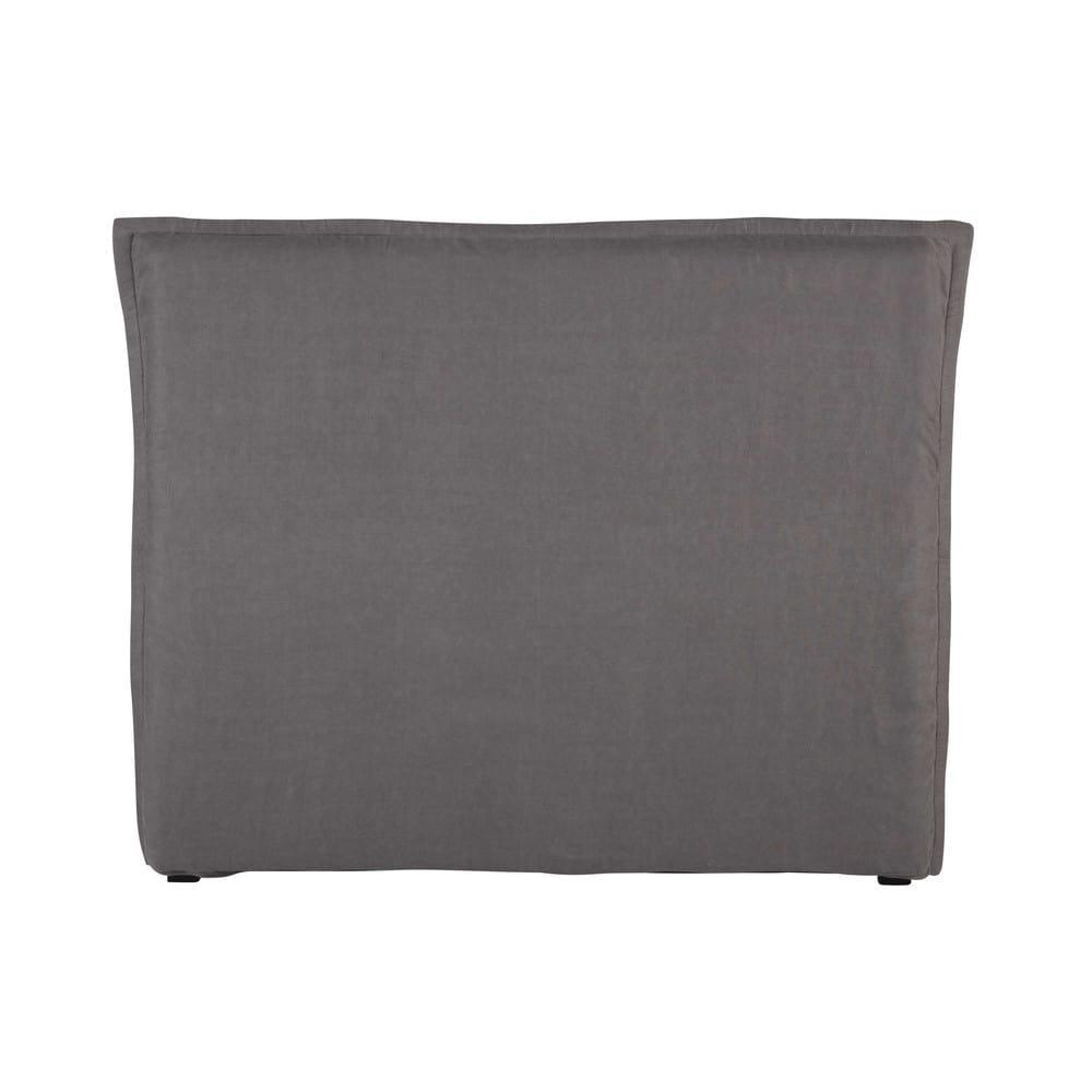 Fodera per testiera del letto 140 in lino lavato grigio - Fodera testata letto ...