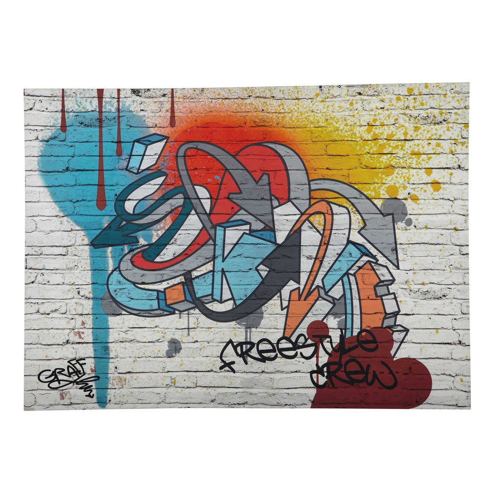 freestyle multicoloured graffiti canvas 80 x 110cm maisons du monde. Black Bedroom Furniture Sets. Home Design Ideas