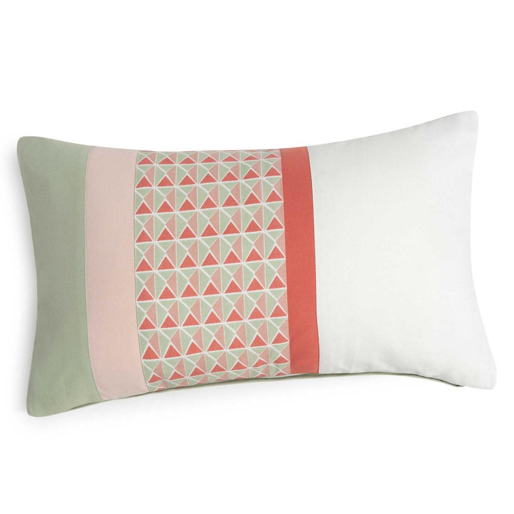 Funda de coj n de algod n estampado verde rosa 30x50 cm for Funda cojin 30x50