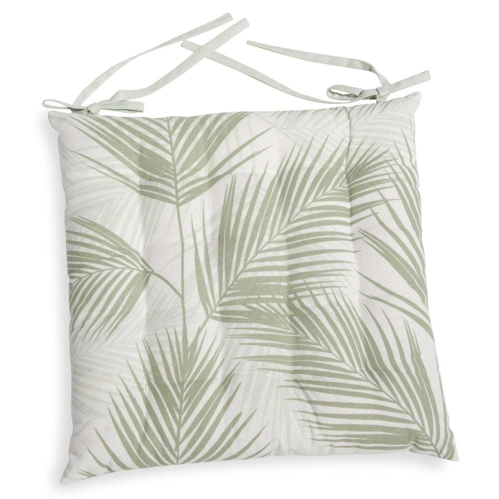 galette de chaise en coton blanc 40x40cm palme maisons du monde. Black Bedroom Furniture Sets. Home Design Ideas