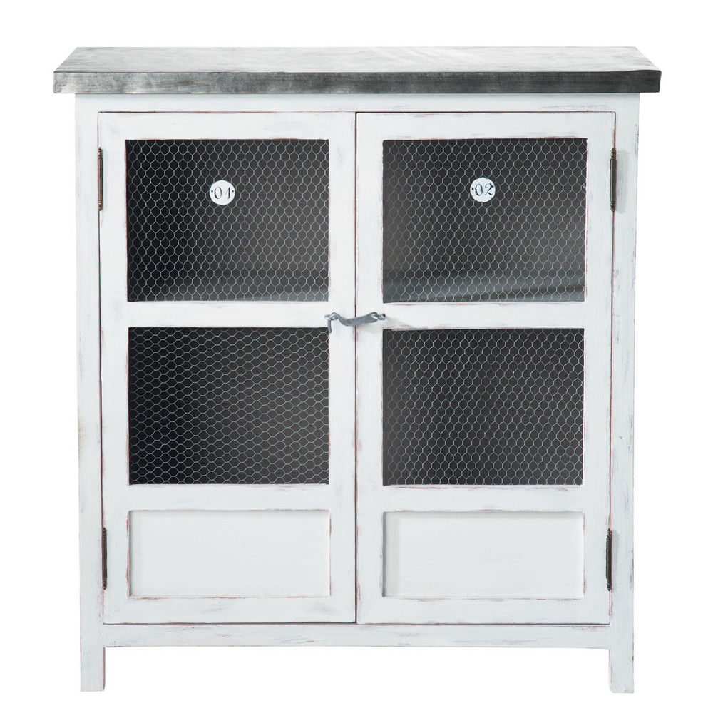 garde manger en bois de paulownia blanc l 80 cm sorgues maisons du monde. Black Bedroom Furniture Sets. Home Design Ideas