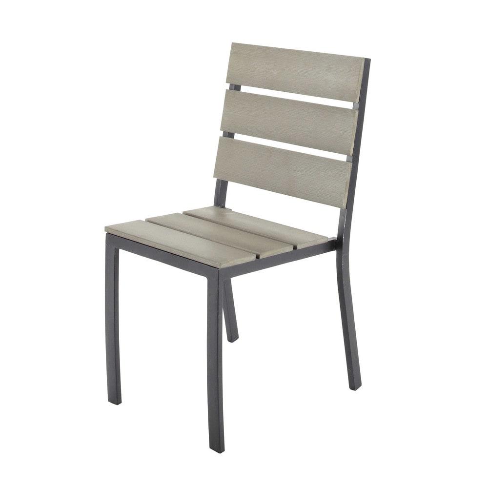 garden chair in aluminium and imitation wood composite escale maisons du monde. Black Bedroom Furniture Sets. Home Design Ideas