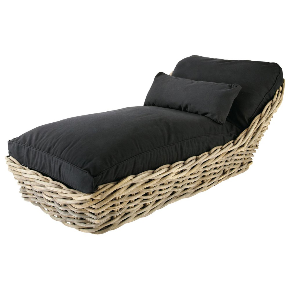 Chaiselongue rattan  Garden chaise longue in rattan with black cushions St Tropez ...