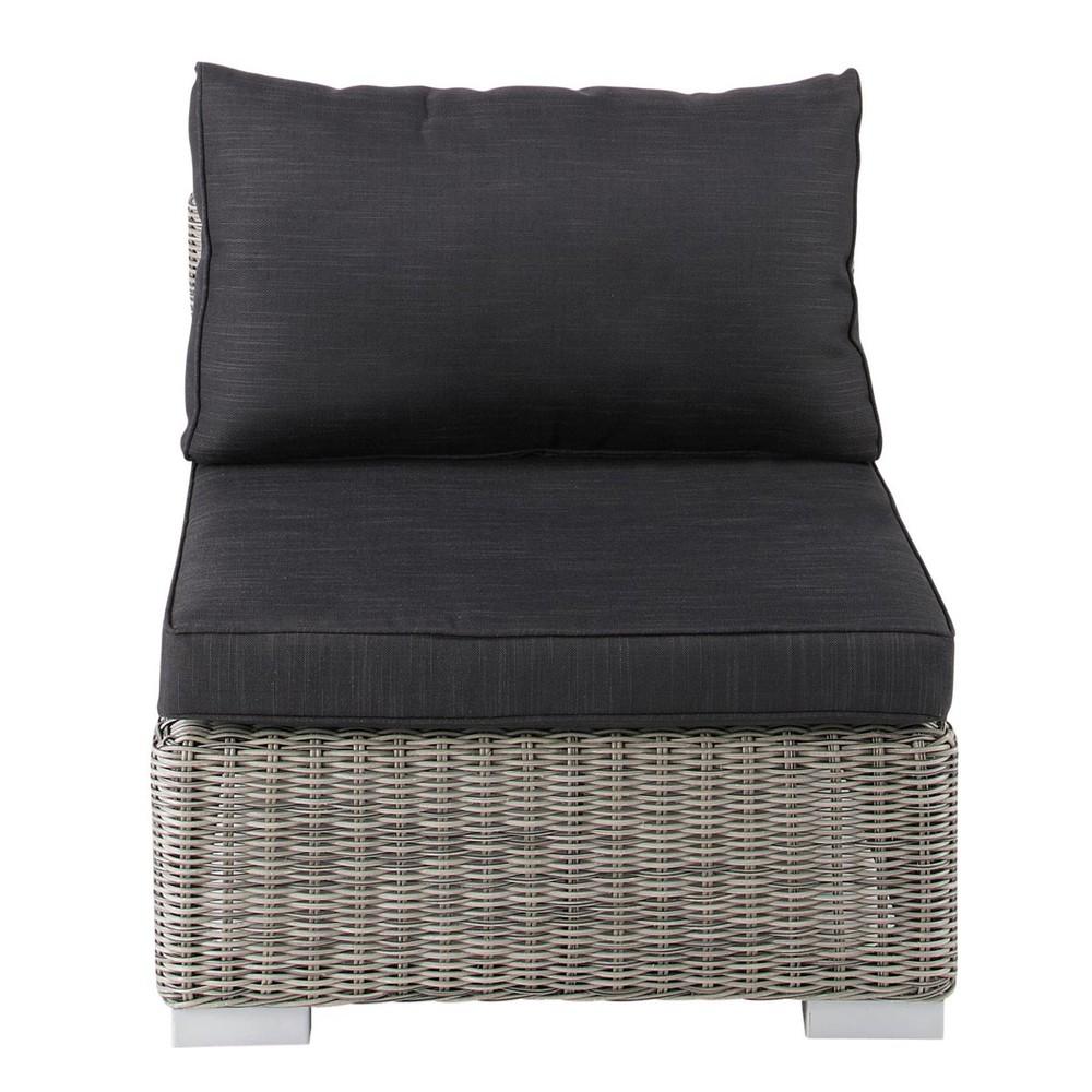 Garden Low Sofa In Grey Resin Wicker
