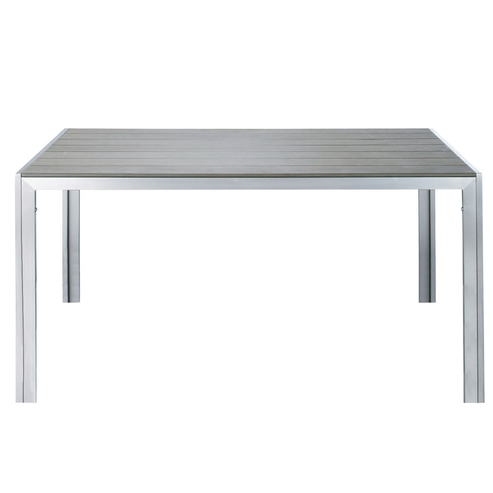 Garden table in greyed imitation wood composite and - Table composite aluminium ...