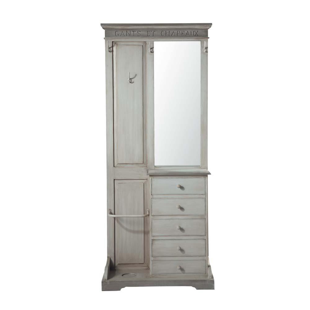 garderobenm bel aus mangoholz mit spiegel b 90 cm grau saint r my saint r my maisons du monde. Black Bedroom Furniture Sets. Home Design Ideas