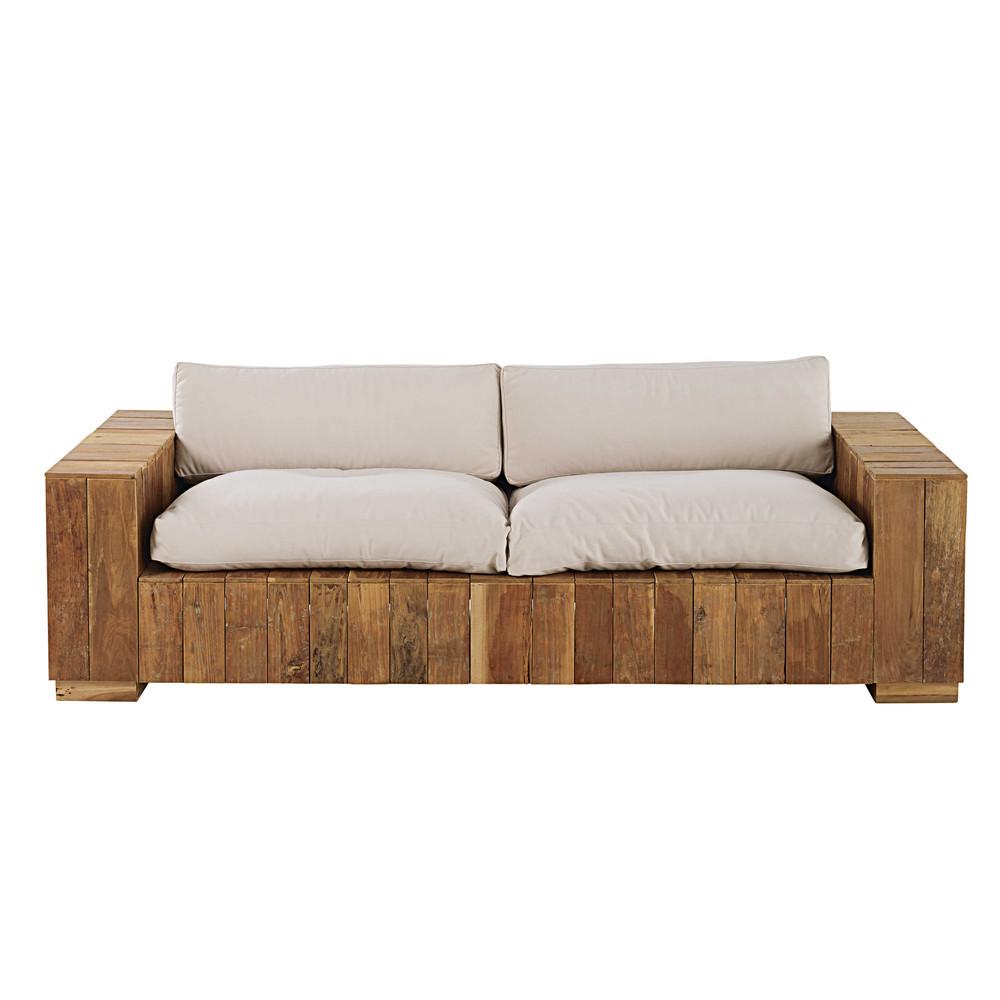 gartenbank 2 3 sitzer aus teakholz mit naturwei en kissen feria maisons du monde. Black Bedroom Furniture Sets. Home Design Ideas
