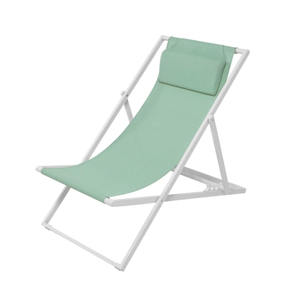 gartenliegestuhl aus metall und leinen mit. Black Bedroom Furniture Sets. Home Design Ideas