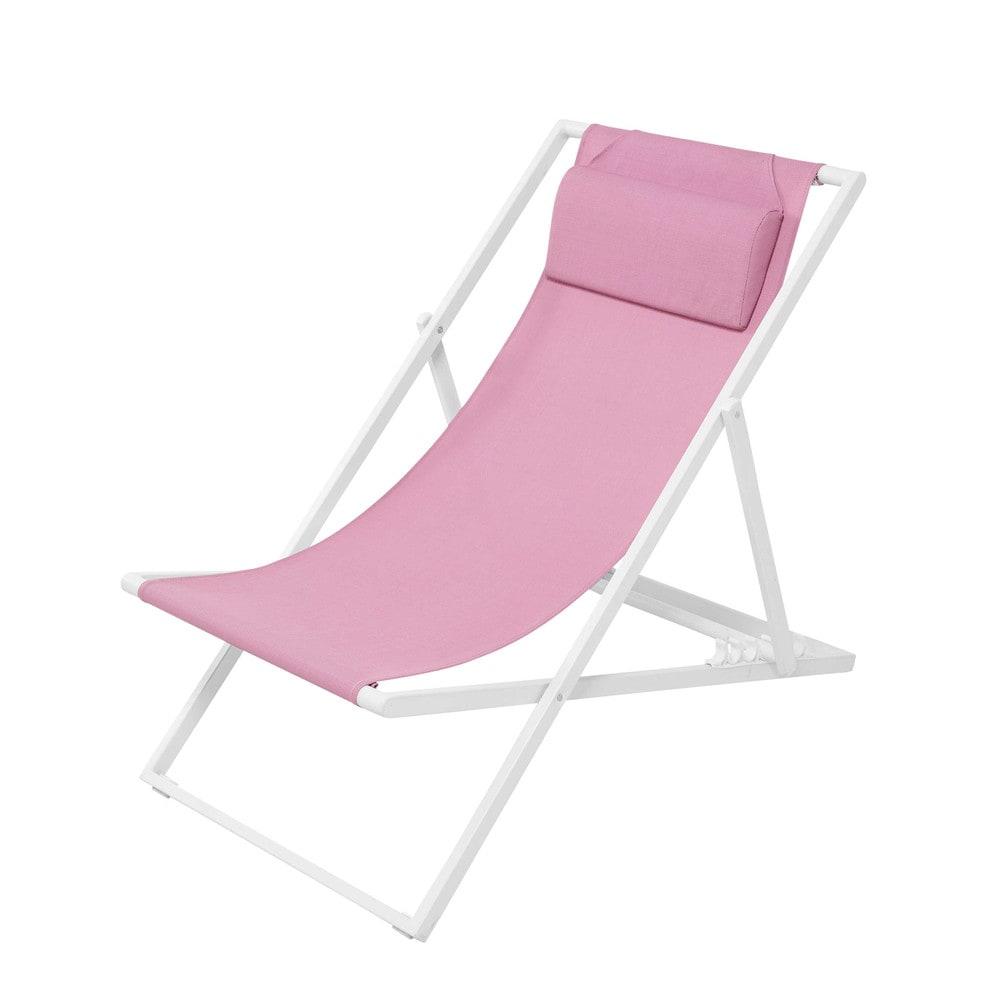 gartenliegestuhl aus metall und leinen mit kunststoffbeschichtung rosa split maisons du monde. Black Bedroom Furniture Sets. Home Design Ideas