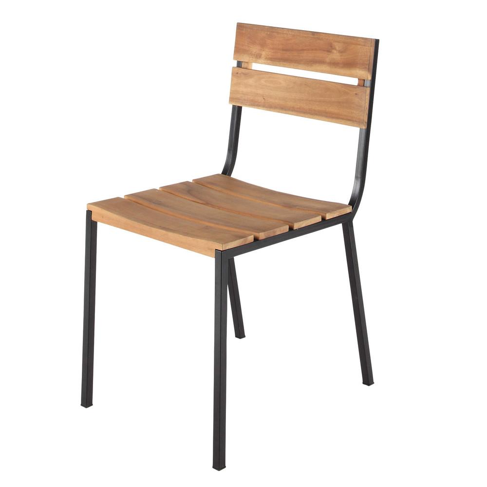 gartenstuhl aus metall und akazienholz schwarz square maisons du monde. Black Bedroom Furniture Sets. Home Design Ideas
