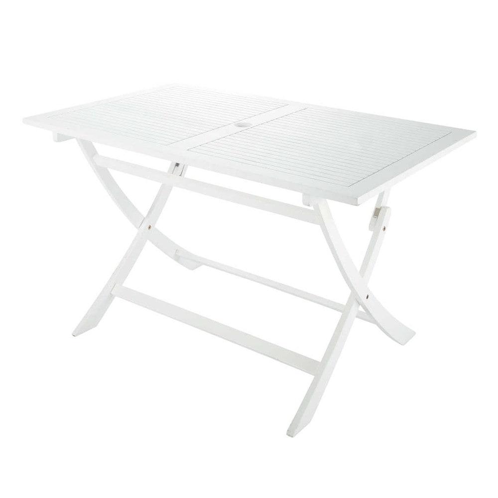 Gartentisch aus akazienholz b 130 cm wei port blanc for Gartentisch weiss