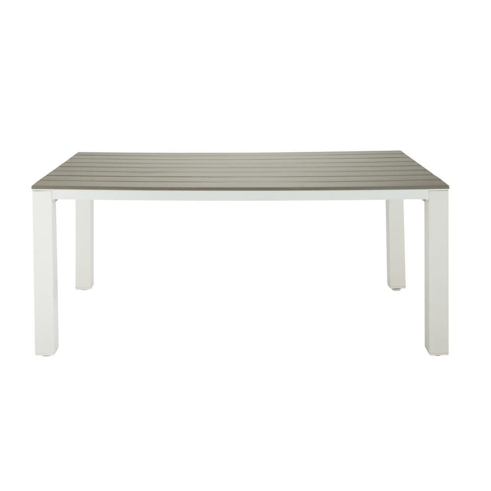 gartentisch aus plastik in holzoptik und aluminium b 180. Black Bedroom Furniture Sets. Home Design Ideas