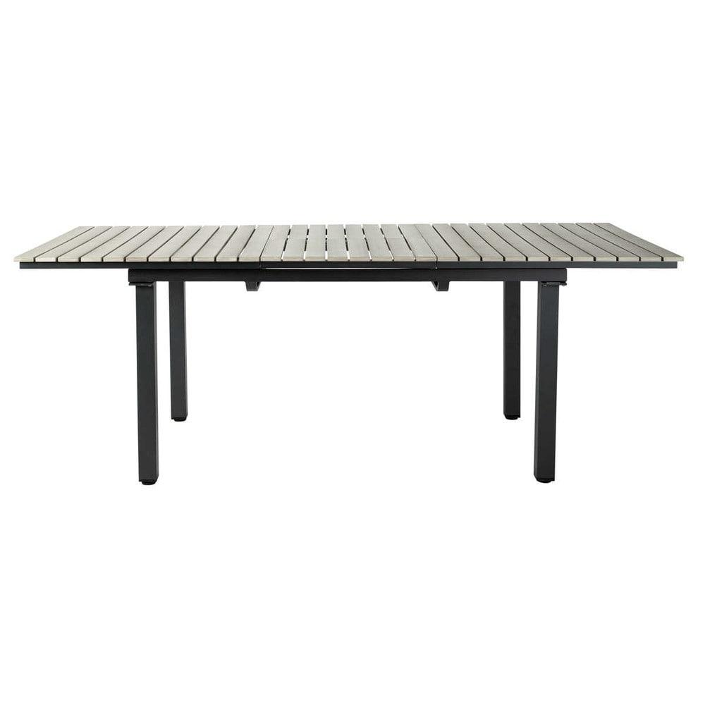 gartentisch aus plastik in holzoptik und aluminium b 213. Black Bedroom Furniture Sets. Home Design Ideas