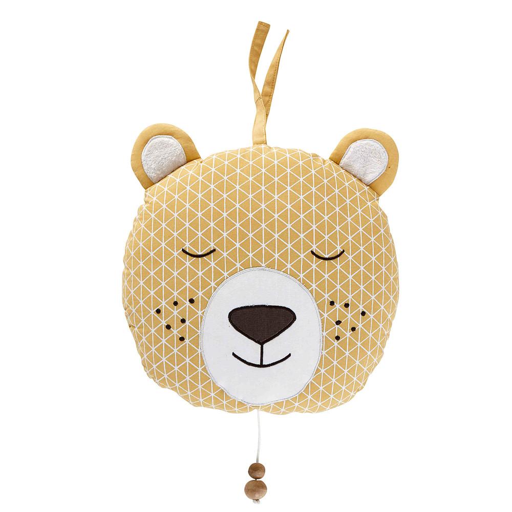 gaston yellow cotton musical bear 25 x 25 cm maisons du. Black Bedroom Furniture Sets. Home Design Ideas