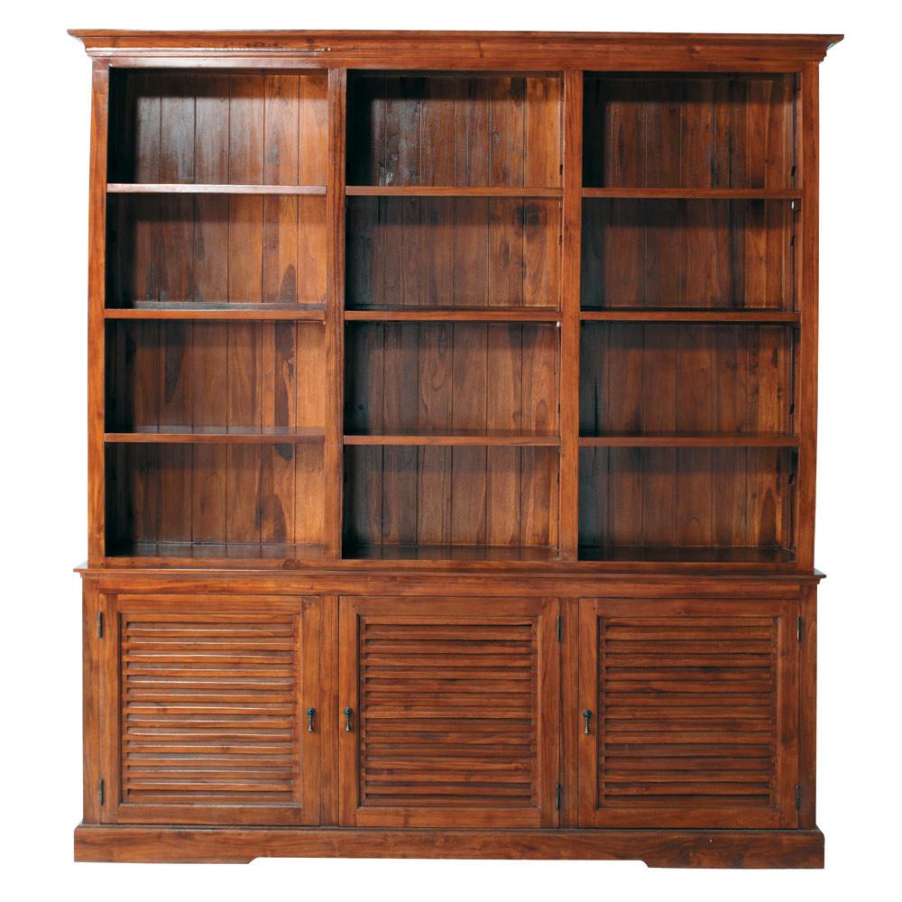 Gebeitst massief teakhouten boekenkast met deuren b 212 cm key largo maisons du monde for Key largo buffet