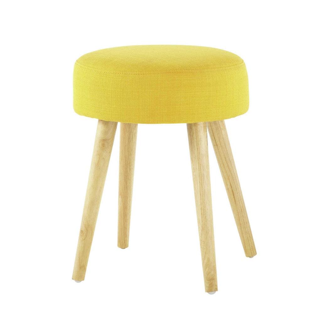 geel stoffen en houten pin 39 up krukje maisons du monde. Black Bedroom Furniture Sets. Home Design Ideas