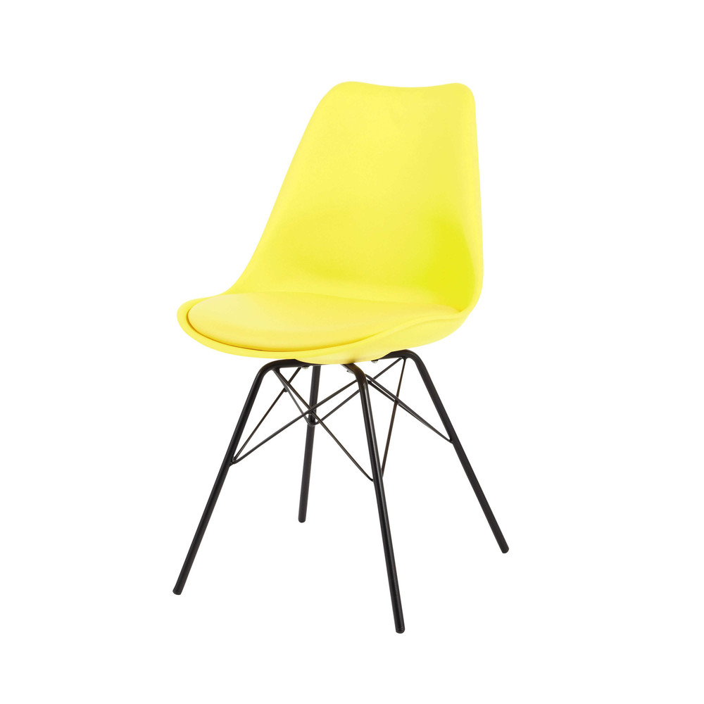 Gele metalen en polypropyleen stoel coventry maisons du for Maison du monde sillas