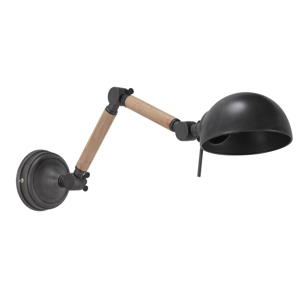 BUcherregal Metall Und Holz ~   und Wandlampen › Gelenk Wandleuchte NORWICH aus Metall und Holz, H