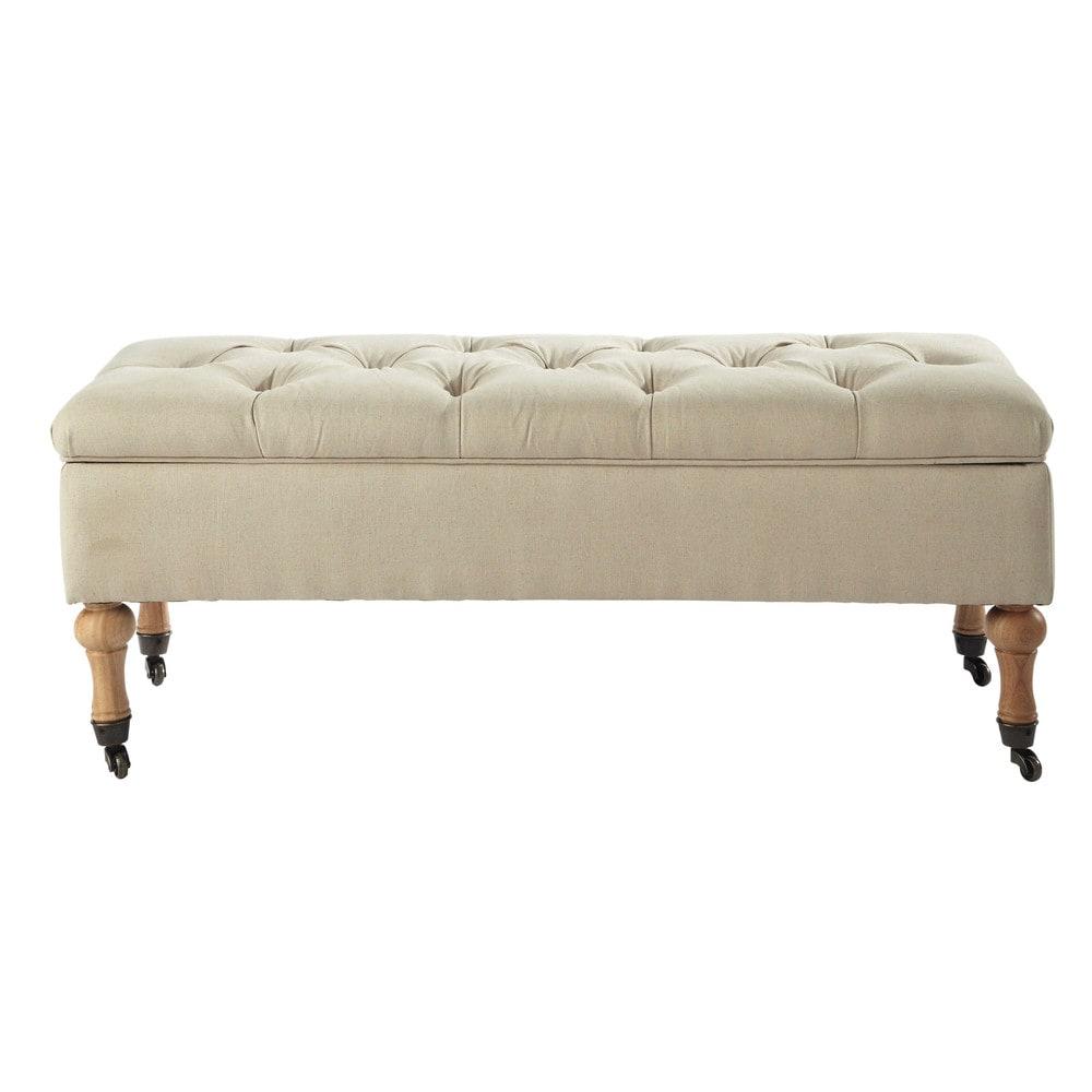 gepolsterte bank aus holz und baumwolle mit rollen und. Black Bedroom Furniture Sets. Home Design Ideas