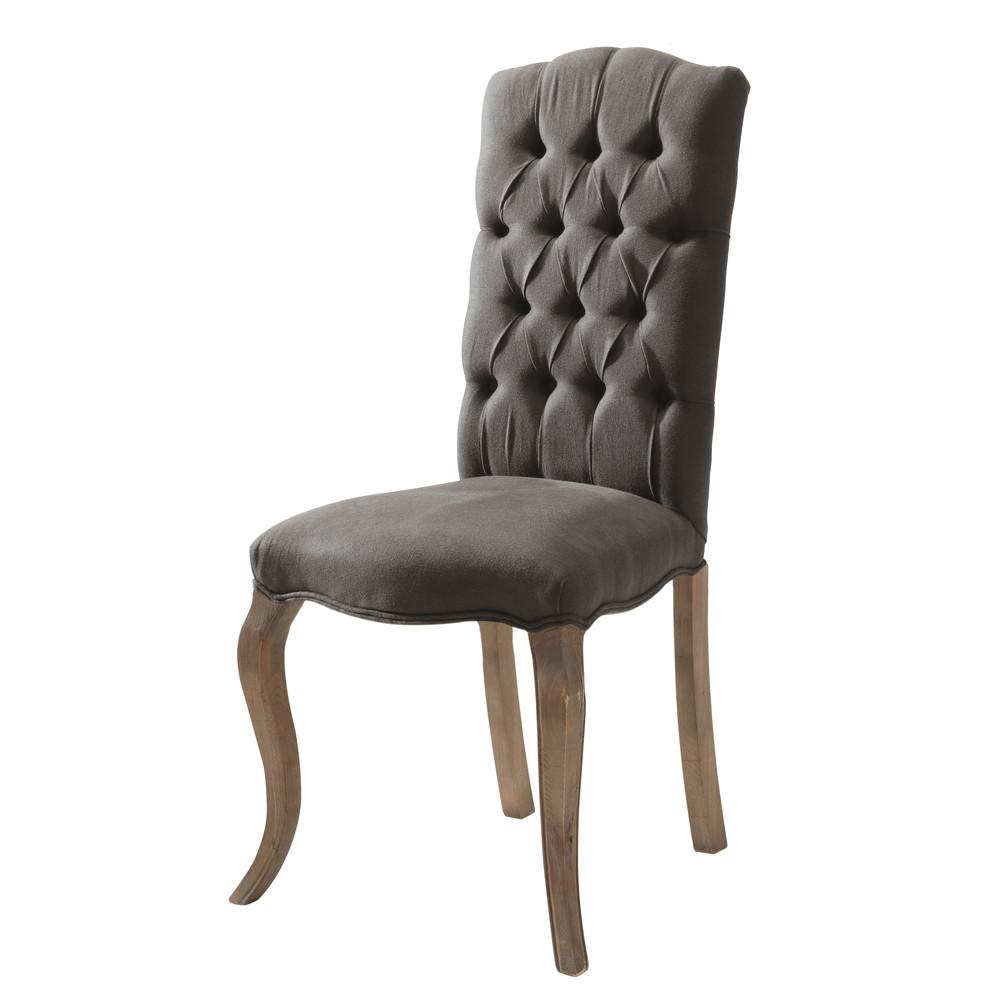 gepolsterter stuhl aus leinen und esche grau chlo chlo maisons du monde. Black Bedroom Furniture Sets. Home Design Ideas