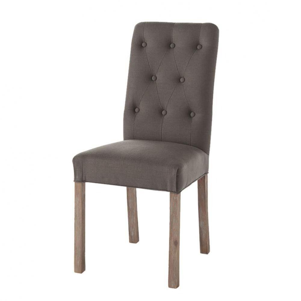 gepolsterter stuhl aus leinen und pecannussbaum grautaupe elizabeth maisons du monde. Black Bedroom Furniture Sets. Home Design Ideas