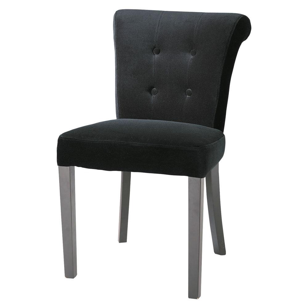 gepolsterter stuhl aus samt schwarz boudoir maisons du. Black Bedroom Furniture Sets. Home Design Ideas