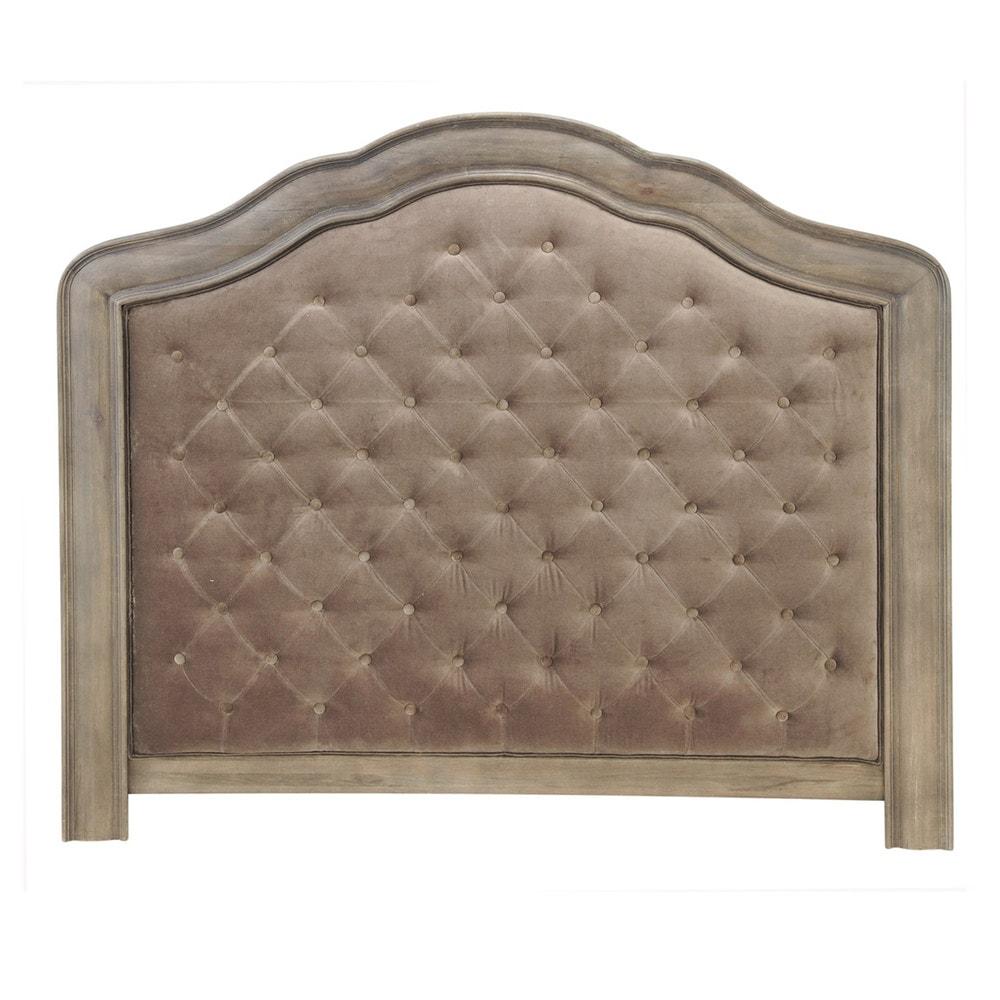 gepolstertes bett kopfteil aus samt b 140 cm taupe domitille maisons du monde. Black Bedroom Furniture Sets. Home Design Ideas