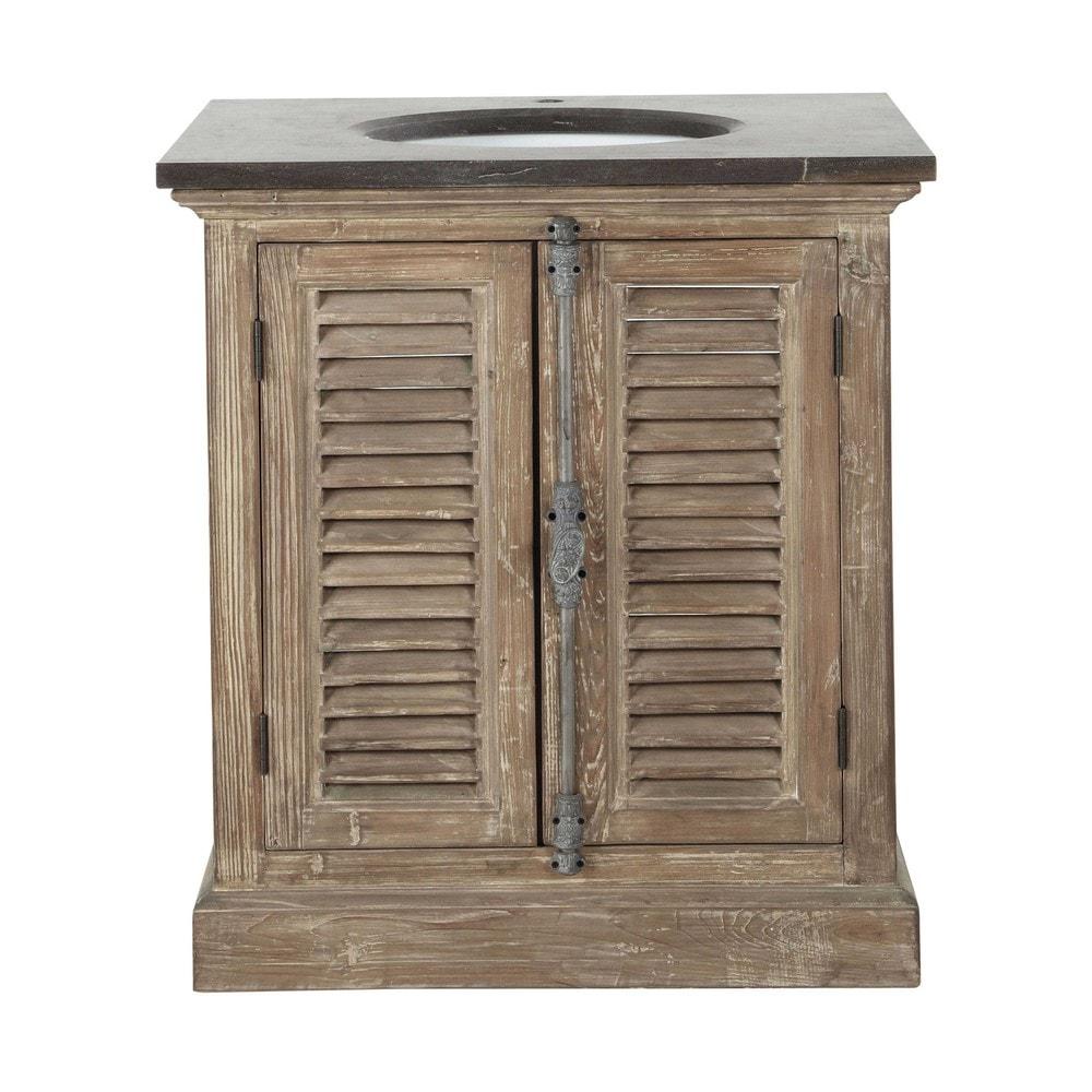 Gerecycleerd houten en marmeren badkamermeubel met wastafel B 80 cm ...