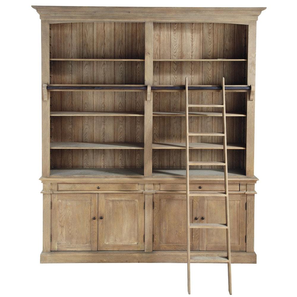 Gerecycleerde houten boekenkast met ladder b 200 cm aristote maisons du monde - Boekenkast hout en ijzer ...