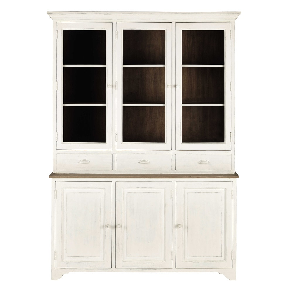 geschirrschrank aus mangoholz b 150 cm wei leopoldine. Black Bedroom Furniture Sets. Home Design Ideas