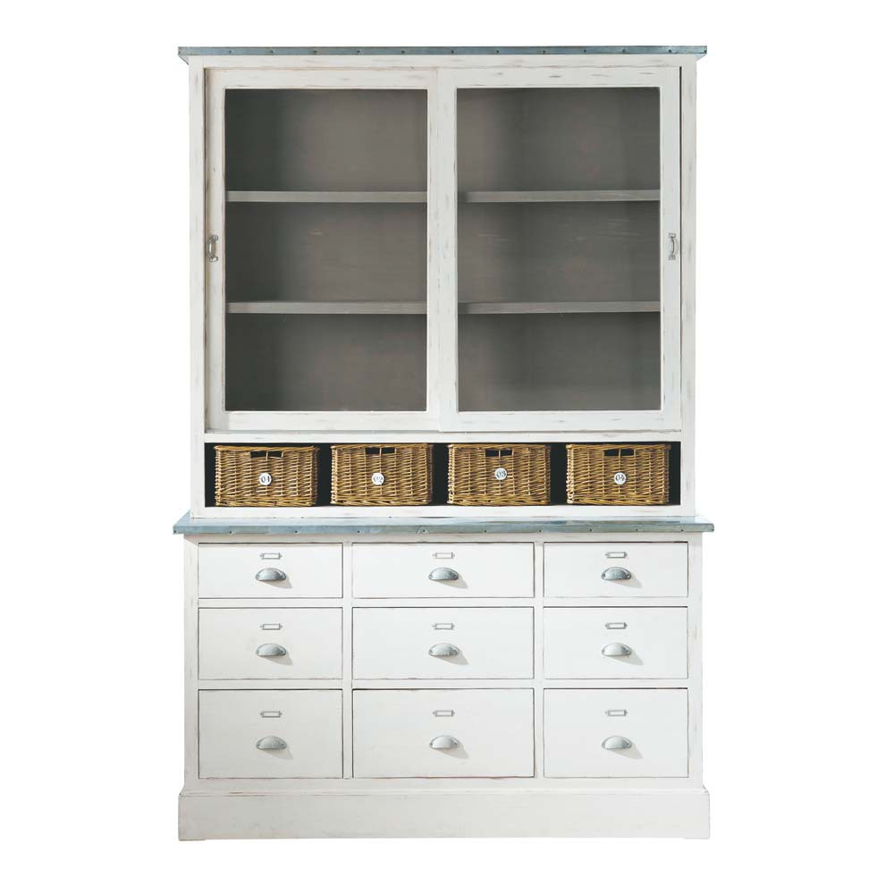 geschirrschrank aus paulownienholz b 145 cm wei sorgues. Black Bedroom Furniture Sets. Home Design Ideas