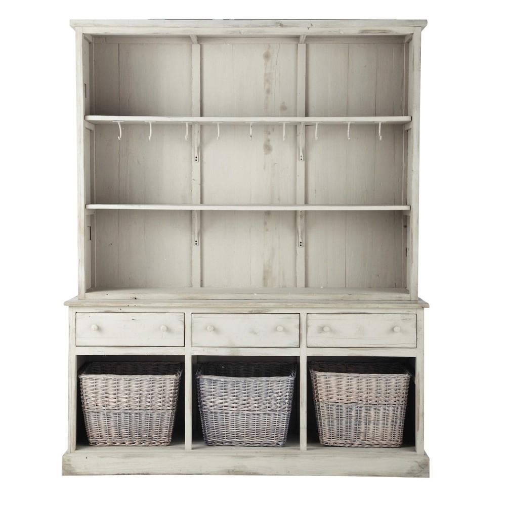 geschirrschrank aus recyclingholz b 170 cm graubeige. Black Bedroom Furniture Sets. Home Design Ideas