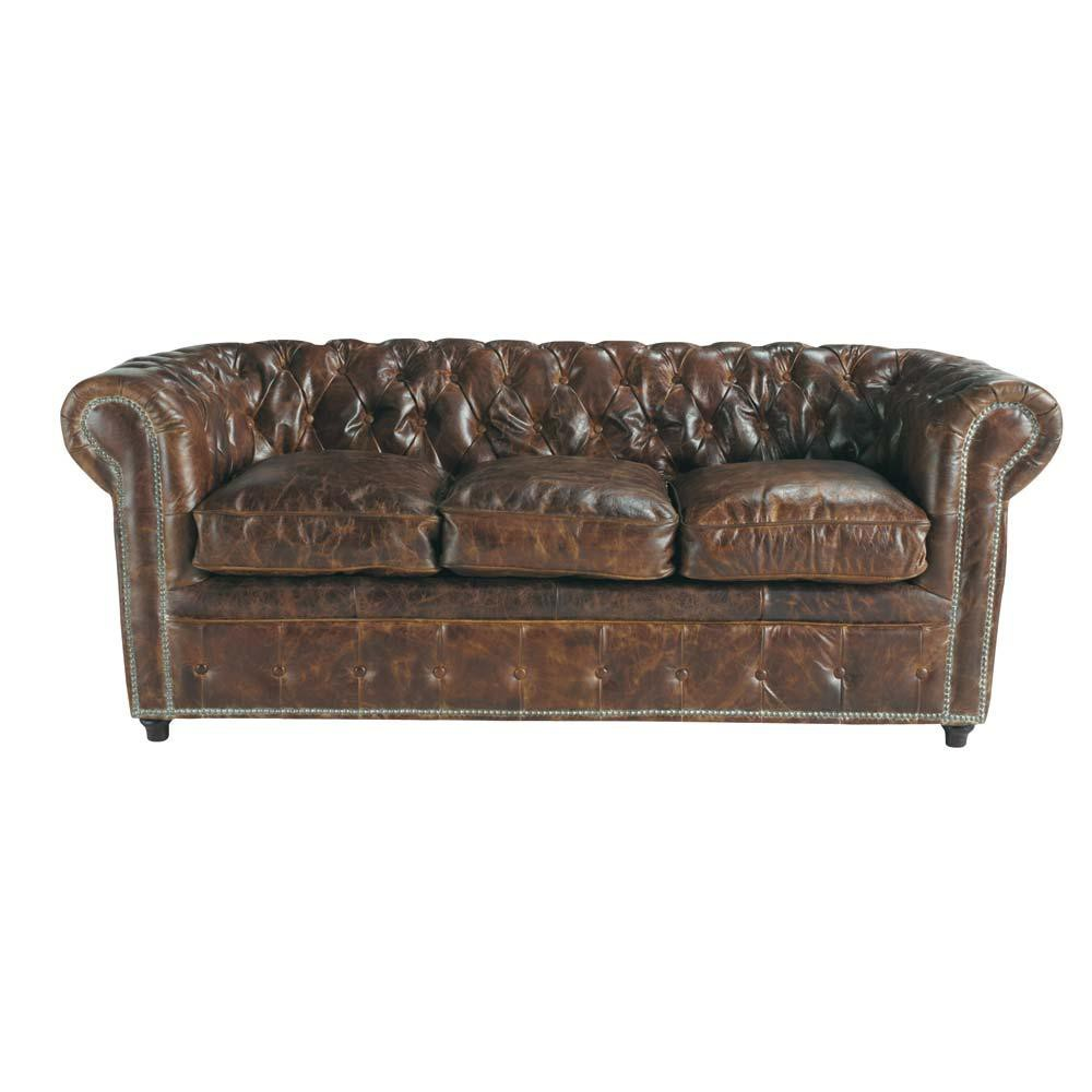 gestepptes 3-sitzer sofa aus braunem leder vintage   maisons du monde, Hause deko