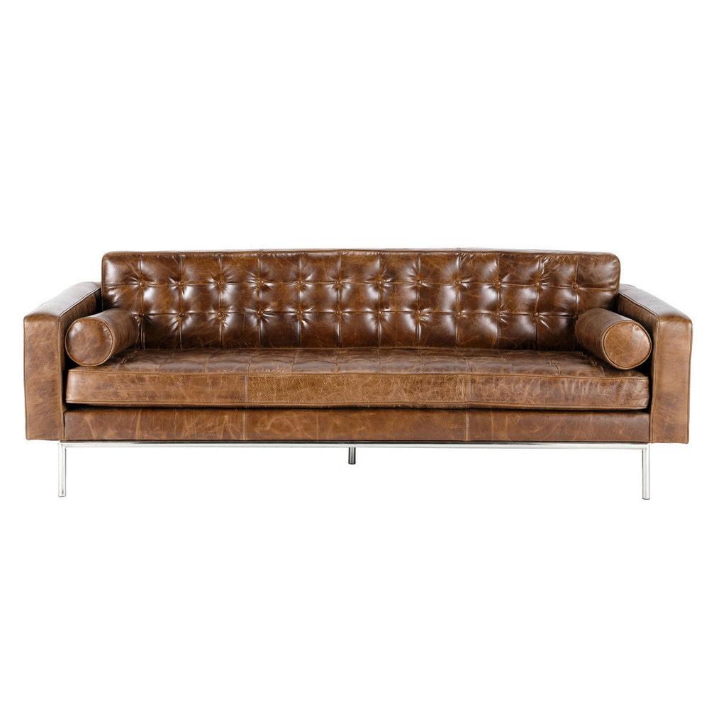 gestepptes 3-sitzer-sofa aus leder, braun mikado mikado   maisons, Hause deko