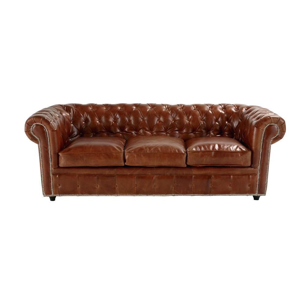 gestepptes ausziehbares sofa 3 sitzer aus leder braun vintage vintage maisons du monde. Black Bedroom Furniture Sets. Home Design Ideas