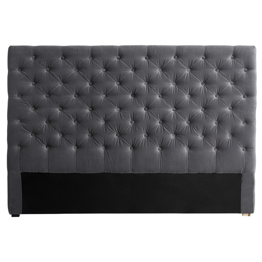 gestepptes bett kopfteil aus samt b 160 cm grau. Black Bedroom Furniture Sets. Home Design Ideas