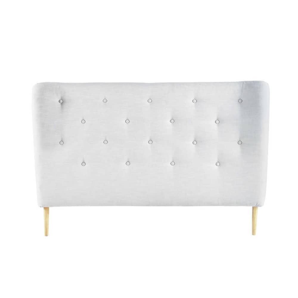gestepptes bett kopfteil im vintage stil aus stoff b 140 cm grau iceberg. Black Bedroom Furniture Sets. Home Design Ideas