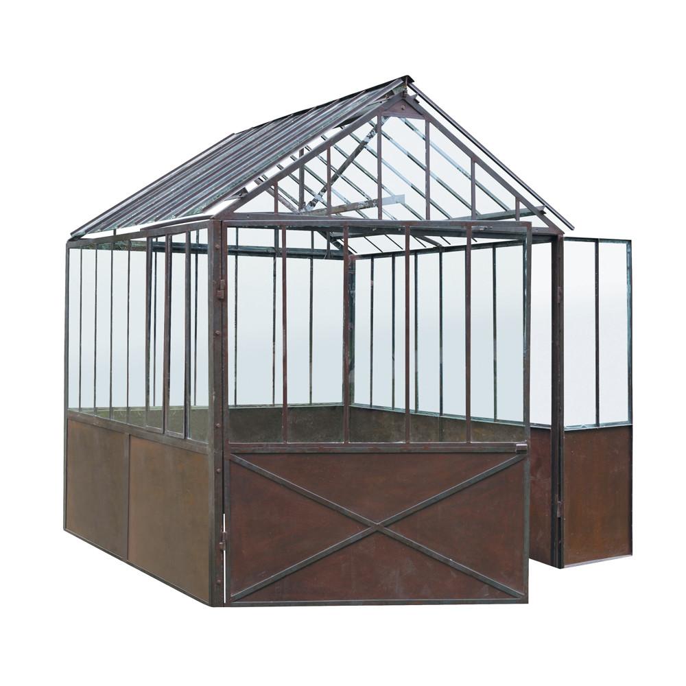 Gew chshaus aus metall mit rosteffekt h 252 cm tuileries for Maison du monde jardin