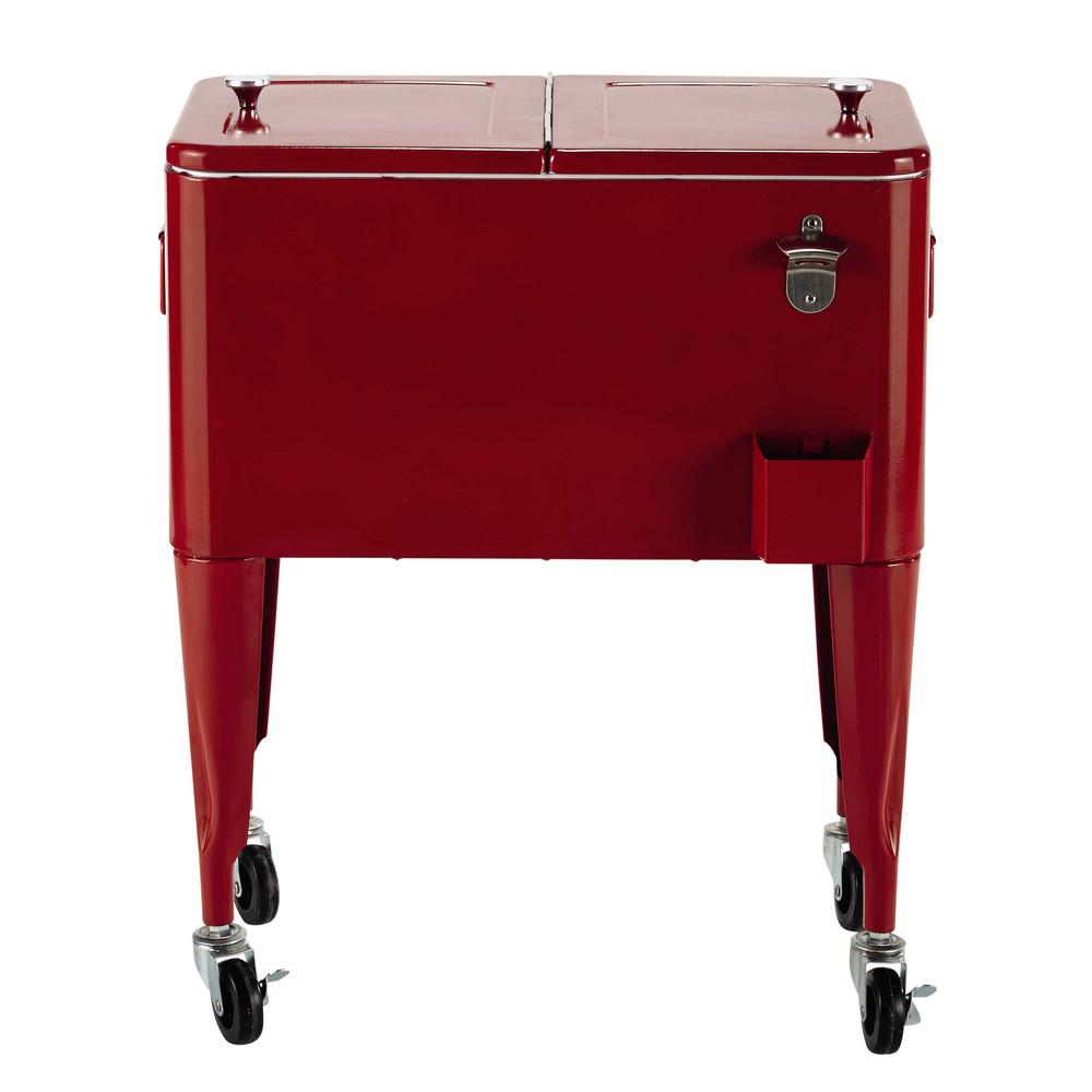 glaci re vintage roulettes en m tal rouge h 77 cm fresh. Black Bedroom Furniture Sets. Home Design Ideas