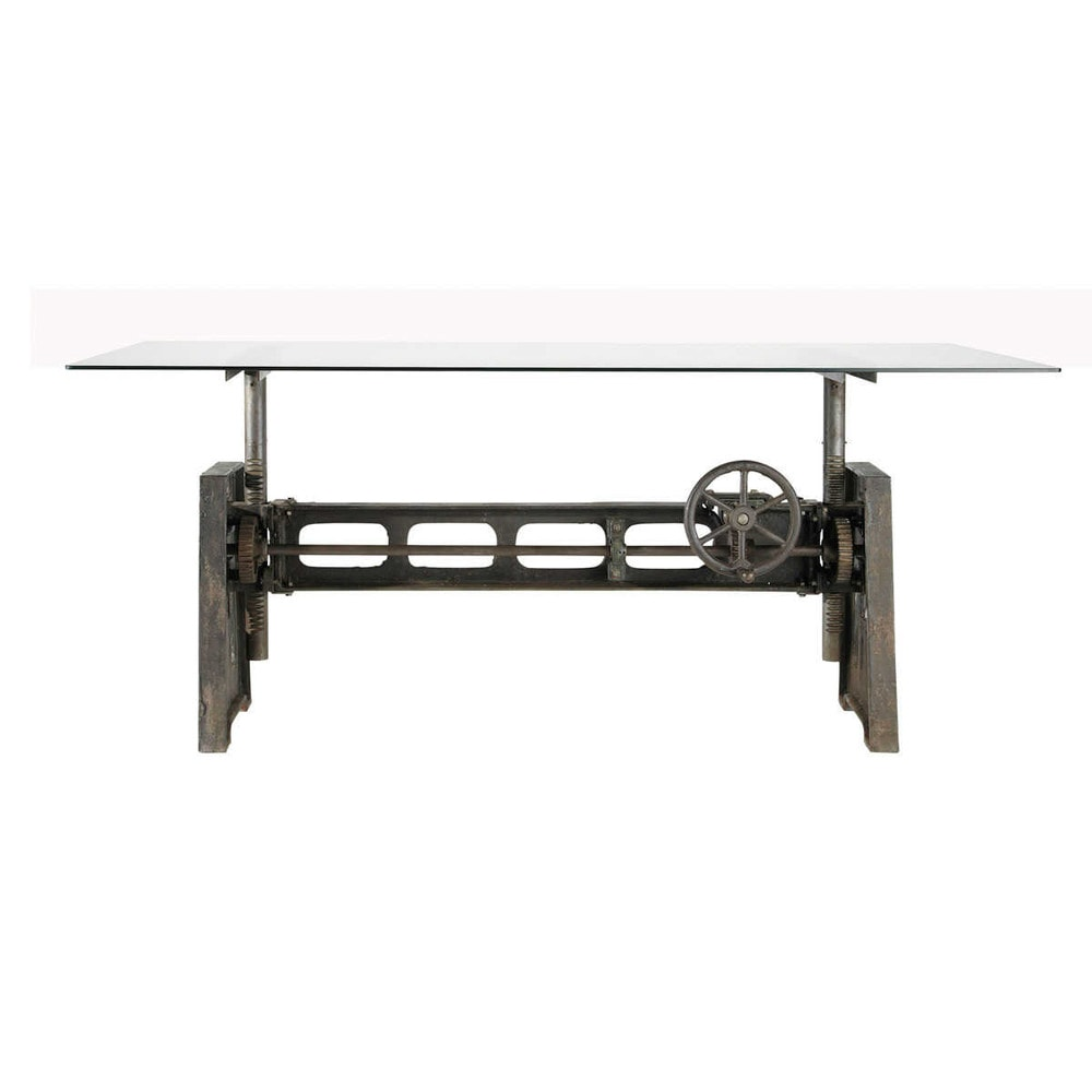 Glass and metal dining table w 200cm garibaldi maisons for Maison du monde4