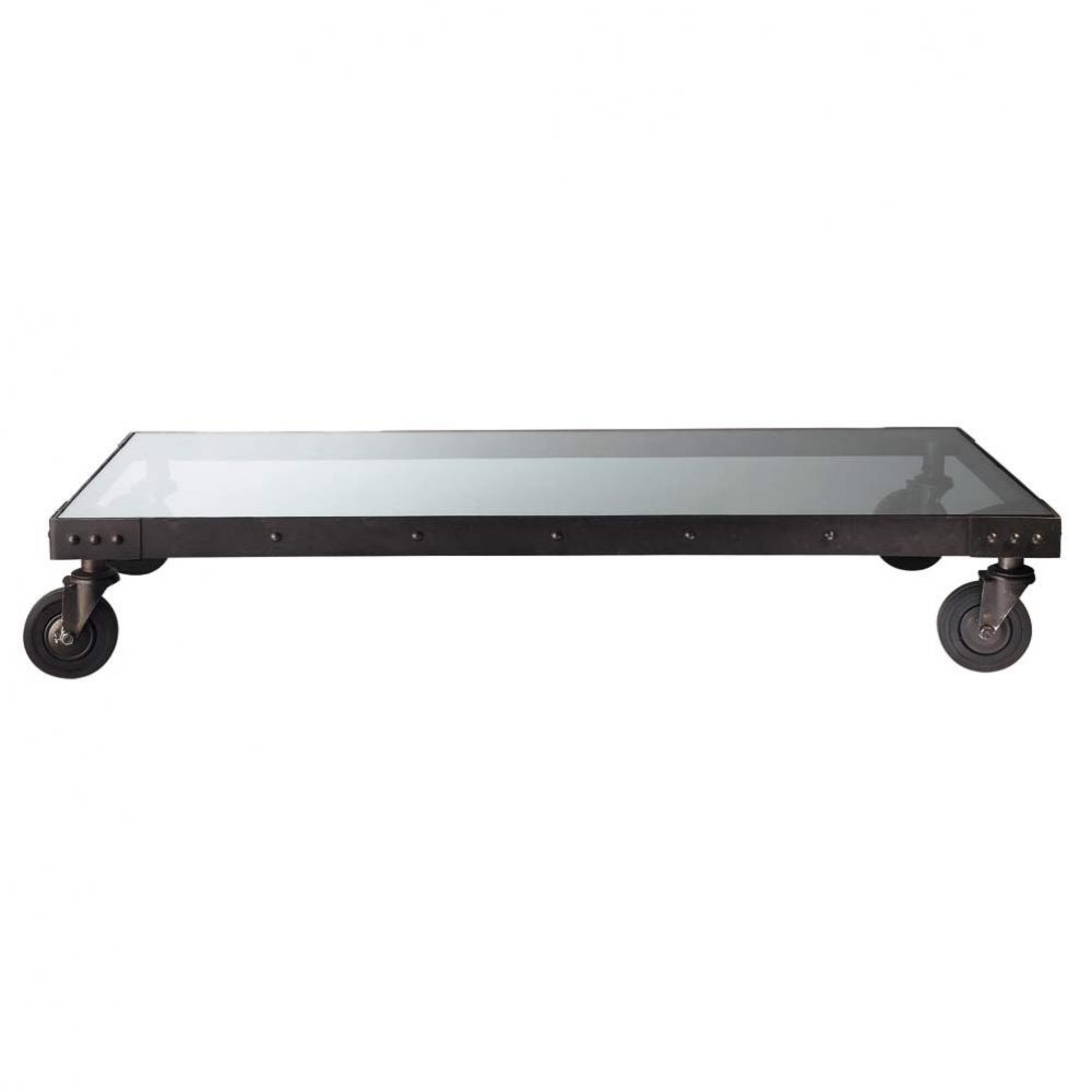 Glass and metal industrial coffee table on castors w 130cm factory maisons du monde Industrial metal coffee table