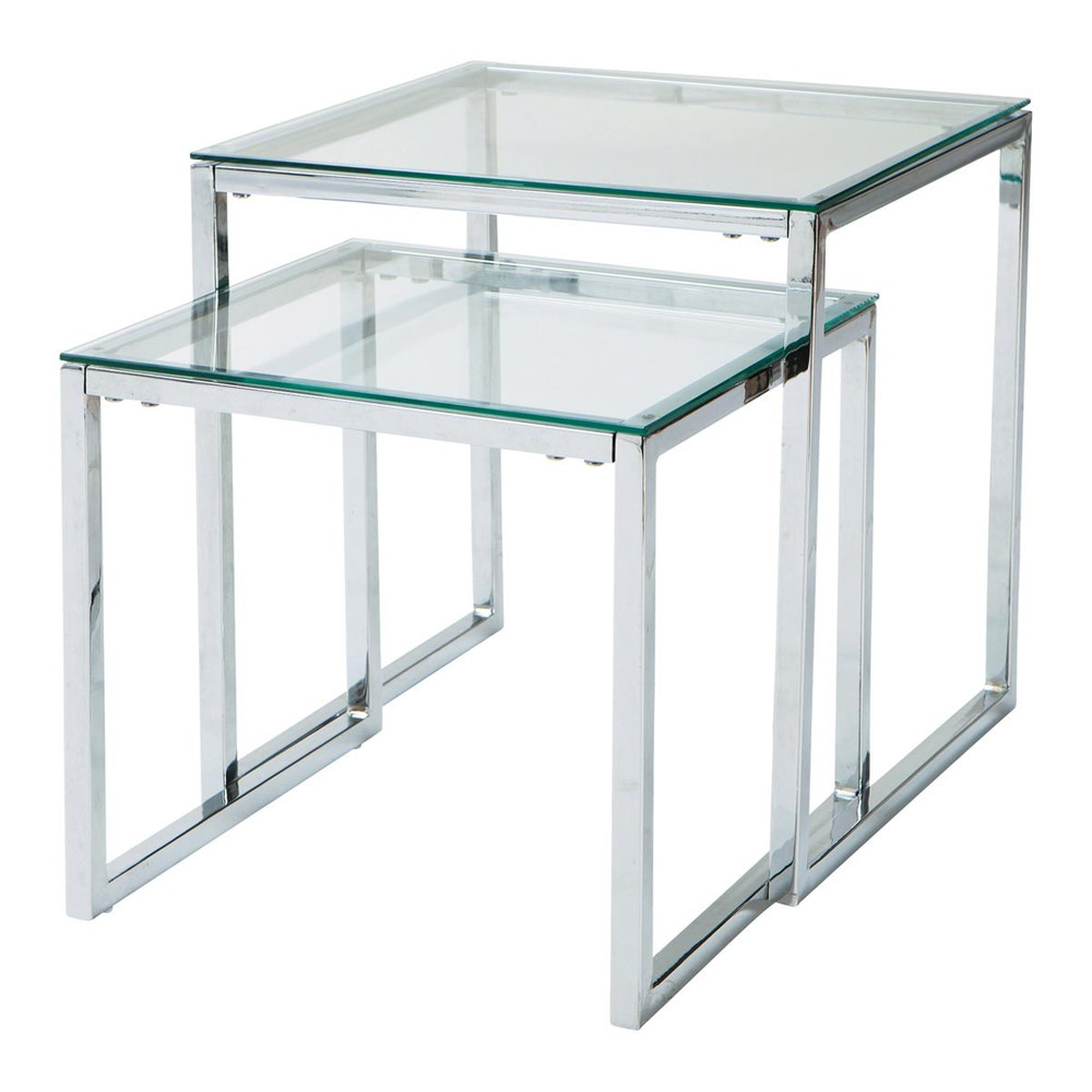 glass and metal nested coffee tables w 40cm and w 45cm. Black Bedroom Furniture Sets. Home Design Ideas