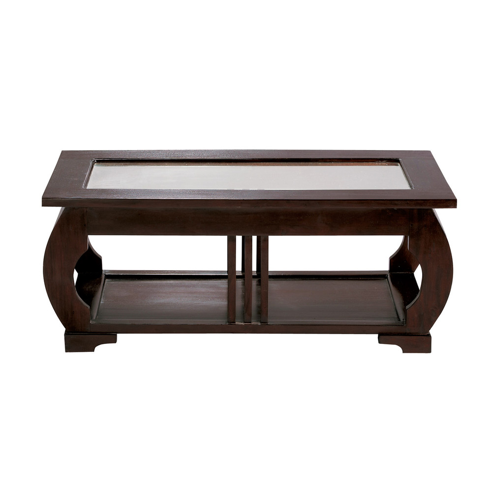 Glass And Solid Mahogany Coffee Table W 100cm Art D Co Maisons Du Monde