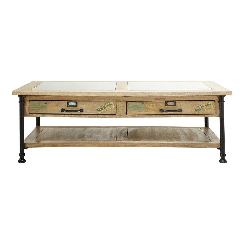 Glass And Solid Mango Wood Coffee Table W 135cm Naturaliste Maisons Du Monde