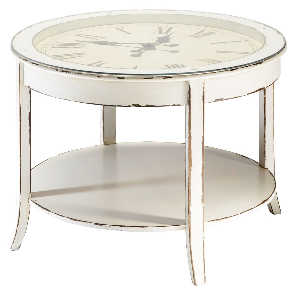 Glass and wood round clock coffee table in white with distressed finish d 72cm teatime maisons White wood coffee table