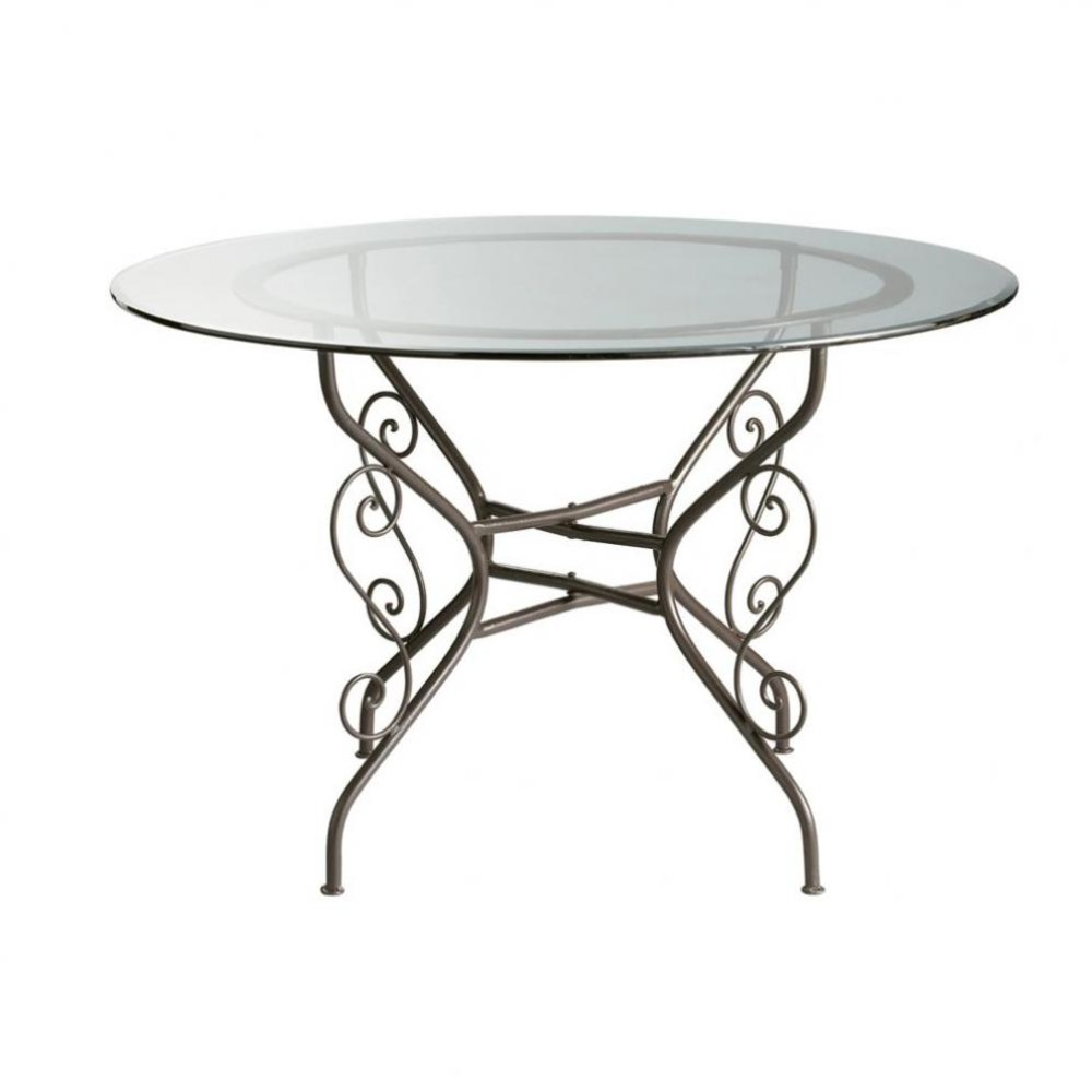 Glass and wrought iron round dining table d 120cm toscane for Iron dining table